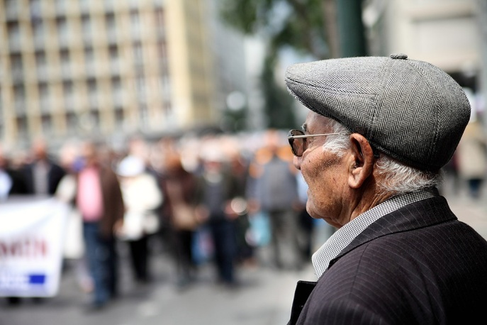 Greek pensioners protest agaist cuts at their pensions in Athens.